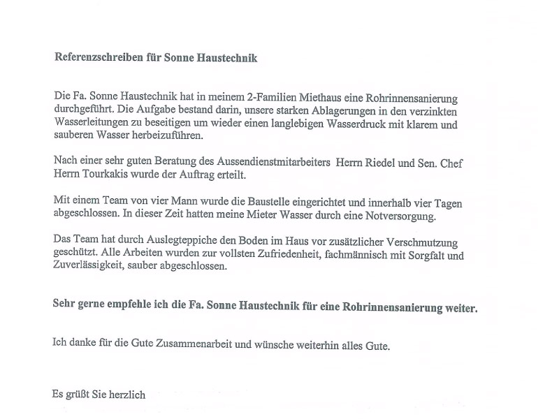 Trinkwasserleitung von der Firma Sonne saniert (Sachsenflur)